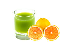 Apple blended juice and sliced orange Royalty Free Stock Photography