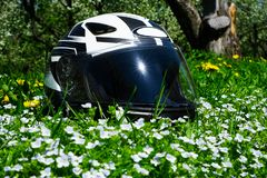 The helmet lies on a blooming meadow. On summer royalty free stock photos