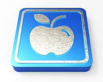 Apple blue button 3D Royalty Free Stock Photography