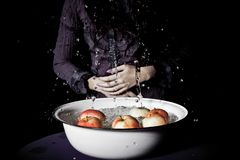 Apple bobbing. Young girl in a purple blouse plays apple bobbing Royalty Free Stock Photo