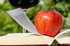 Apple on book. Royalty Free Stock Photos