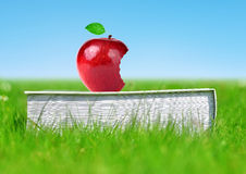 Apple on book in grass. Stock Image