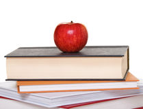 Apple on Book Stack Royalty Free Stock Photos