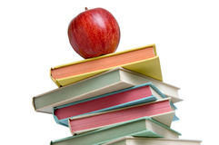 Apple on book stack Royalty Free Stock Images