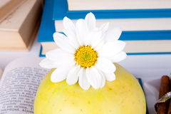 Apple on books. Close up of flower on apple with books in background Royalty Free Stock Photos