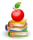 Apple and books. Red apple and school books Royalty Free Stock Images
