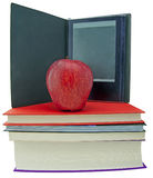 Apple, books and ebook reader Stock Images