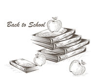 Apple and Books engraving style Royalty Free Stock Photo