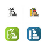 Apple and books icon. Flat design, linear color styles. Isolated vector illustrations. Stock Photography