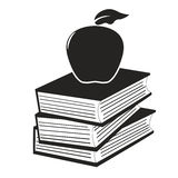 Apple on the books. Isolated apple on the books from white background stock illustration