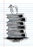 Apple on books. With note paper background royalty free illustration