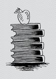 Apple on books. With transparent  background Stock Images