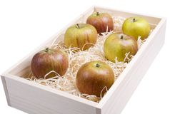 Apple Box. Please see my other food images as well. A box of fresh, natural apples Royalty Free Stock Photos
