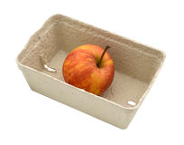Apple in the box isolated with clipping path Stock Photography