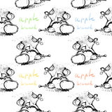 Apple branch seamless  pattern with signature.  Stock Image