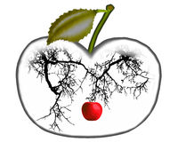 Apple on a branch. Always striving to do better than others do Stock Photo