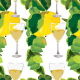 Apple branches and glasses of drink seamless pattern Stock Image