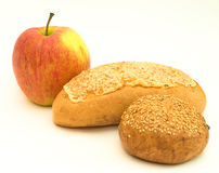 Apple and bread Stock Photos