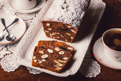 Apple bread with cocoa, fruit and nuts Stock Photography