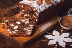 Apple bread with cocoa, fruit and nuts Royalty Free Stock Photo