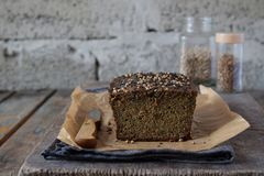 Apple bread loaf from sunflower seeds, chia and flax seeds. Homemade baking. Paleo diet. Organic healthy vegetarian food. Gluten f stock image
