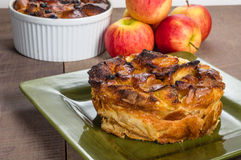 Apple bread pudding with raisins Stock Images