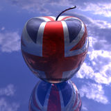 Apple with britain flag texture Royalty Free Stock Images