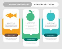 Apple, mandarin, fish infographic. Apple business infographic template, the concept is option step with full color icon can be used for mandarin diagram Stock Photos