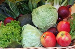 Apple cabbage coleslaw and fresh fruit on sale Stock Photo