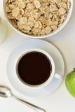 Apple, café y cereales Fotografía de archivo