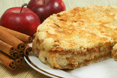 Apple cake. Fresh baked apple pie with red apples and whole cinnamon sticks. Delicious dessert Stock Image