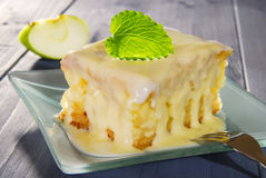 Apple cake. With vanilla sauce and lemon balm on a plate Stock Photography