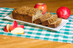 Apple cake with apples on white plate Royalty Free Stock Photography