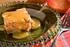 Apple Cake with Caramel Sauce Stock Photography