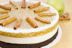 Apple cake with cinnamon sticks Stock Images
