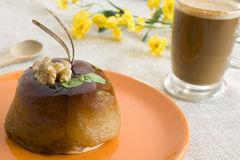 Apple cake & coffee. A gourmet apple pie and a cup of coffee. Focus on cake Stock Photos