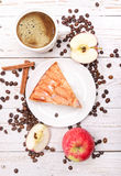Apple cake with a cup of coffee. Royalty Free Stock Photos