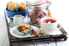 Apple cake, cup of tea and jam Stock Photo