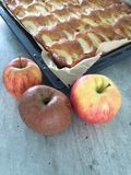 Apple cake. Every apple can used, some varieties like boskoop are better for the Stock Image