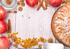Apple cake.  Frame. Royalty Free Stock Images