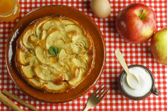 Apple cake and ingredients Stock Photos