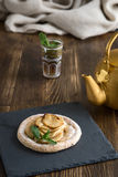Apple cake with mint with tea Royalty Free Stock Images