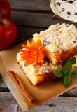 Apple cake with raisins on brown paper stock images