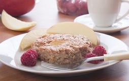 Apple cake with raspberries Stock Photos