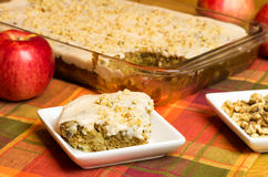 Apple Cake with red apple and walnuts Royalty Free Stock Photo