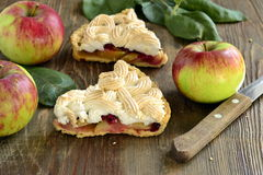 Apple cake with red currant, meringue Stock Images