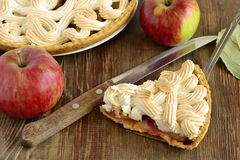 Apple cake with red currant, meringue Royalty Free Stock Photo