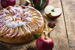 Apple cake. On rustic background stock photo