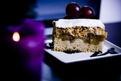 Apple cake served in a restaurant Royalty Free Stock Photos