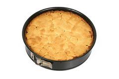 Apple cake in tin. Homemade apple cake in black tin ready to eat Stock Photo